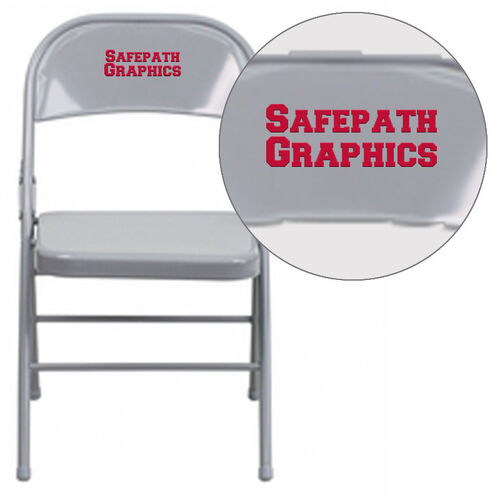 Our Personalized HERCULES Series Triple Braced & Double Hinged Gray Metal Folding Chair is on sale now.
