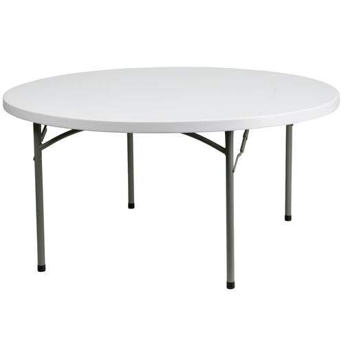 Our 4.97-Foot Round Granite White Plastic Folding Table is on sale now.