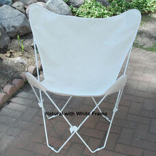 Folding Butterfly Chair with White Steel Frame and Cotton Cover - Natural