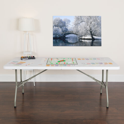Our 6-Foot Bi-Fold Granite White Plastic Banquet and Event Folding Table with Carrying Handle is on sale now.