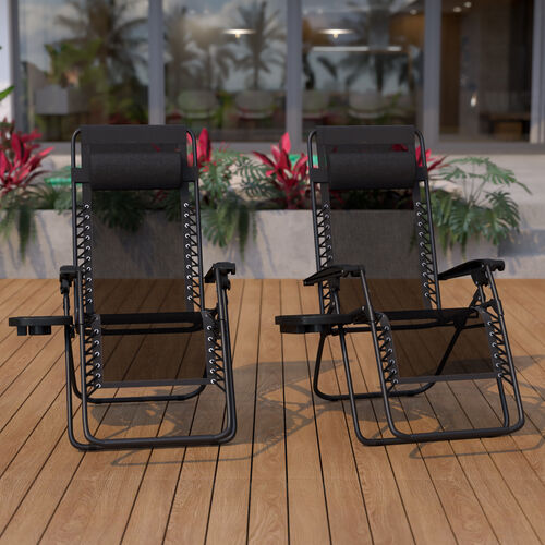 Adjustable Folding Mesh Zero Gravity Reclining Lounge Chair with Pillow and Cup Holder Tray in Black, Set of 2
