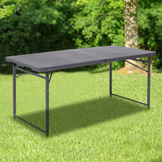 4-Foot Height Adjustable Bi-Fold Dark Gray Plastic Folding Table with Carrying Handle
