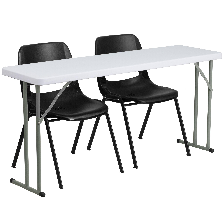 ... Our 18u0027u0027 X 60u0027u0027 Plastic Folding Training Table Set With 2 Black