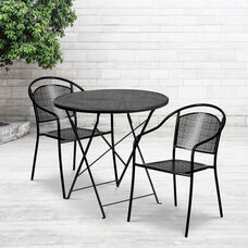 """Commercial Grade 30"""" Round Black Indoor-Outdoor Steel Folding Patio Table Set with 2 Round Back Chairs"""