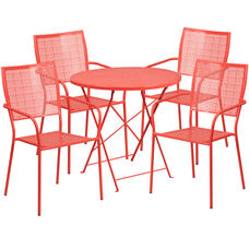 "Commercial Grade 30"" Round Coral Indoor-Outdoor Steel Folding Patio Table Set with 4 Square Back Chairs"
