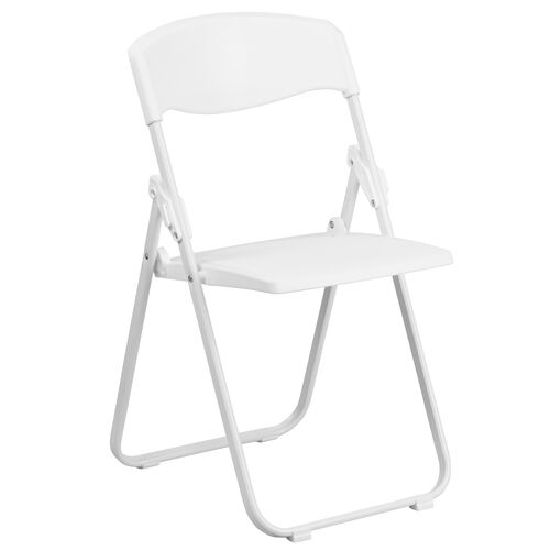 Our HERCULES Series 880 lb. Capacity Heavy Duty White Plastic Folding Chair with Built-in Ganging Brackets is on sale now.