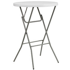 2.6-Foot Round Granite White Plastic Bar Height Folding Table