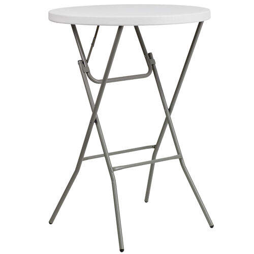 Our 2.6-Foot Round Granite White Plastic Bar Height Folding Table is on sale now.