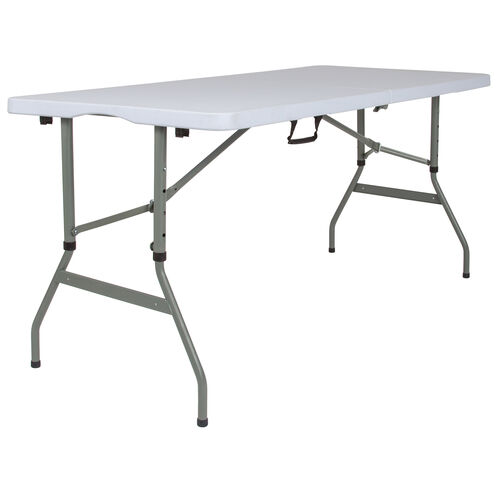 5-Foot Height Adjustable Bi-Fold Granite White Plastic Banquet and Event Folding Table with Carrying Handle