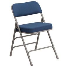 HERCULES Series Premium Curved Triple Braced & Double-Hinged Navy Fabric Metal Folding Chair