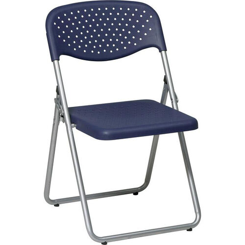 Our Work Smart Folding Chair with Ventilated Plastic Seat and Back - Set of 4 - Blue with Silver Frame is on sale now.
