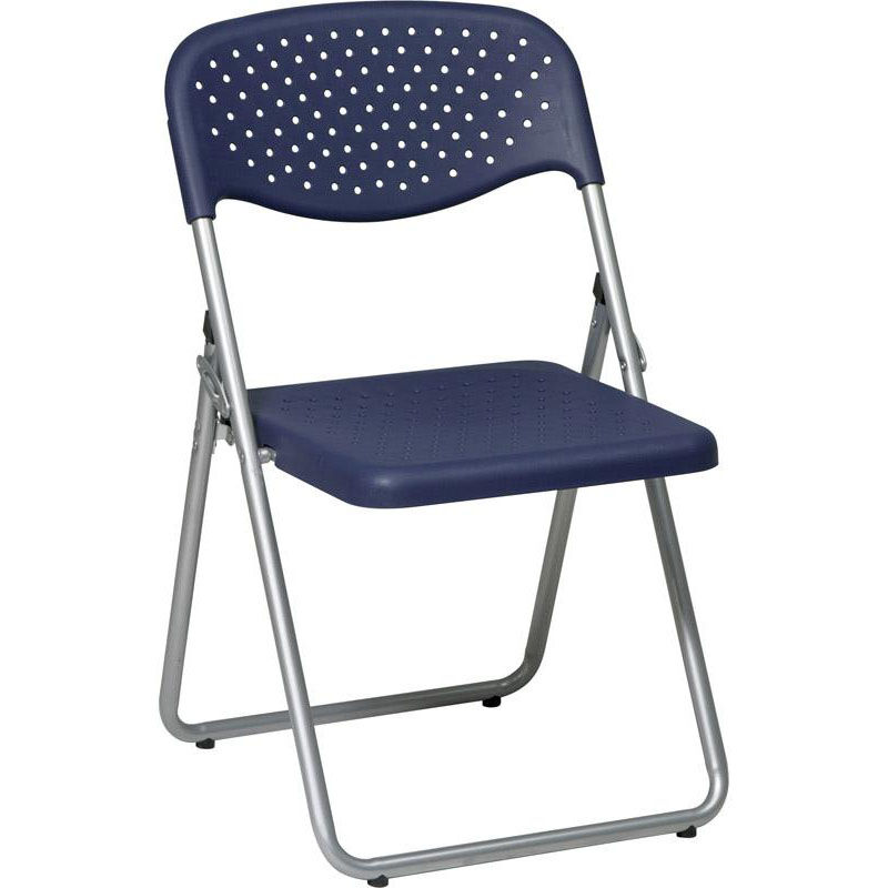 Work Smart Folding Chair With Ventilated Plastic Seat And Back   Set Of 4    Blue