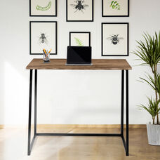 Small Rustic Natural Home Office Folding Computer Desk - 36""
