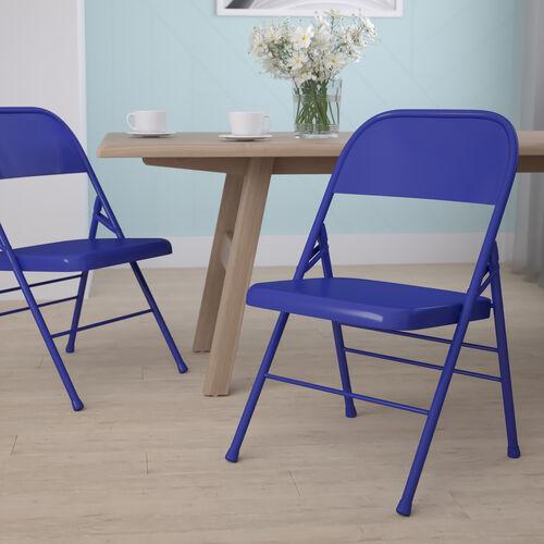 HERCULES COLORBURST Series Cobalt Blue Triple Braced & Double Hinged Metal Folding Chair