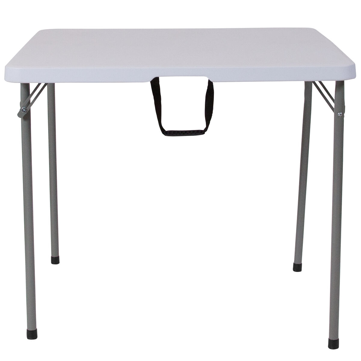 Our 34 Square Bi Fold Granite White Plastic Folding Table With Carrying Handle