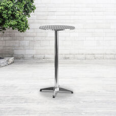 "23.25"" Round Aluminum Indoor-Outdoor Bar Height Table with Flip-Up Table"