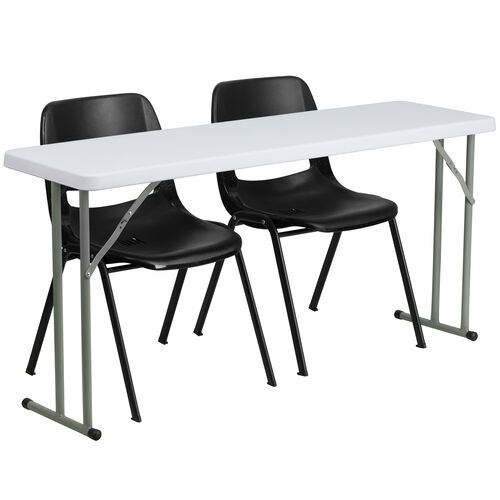 Our 5-Foot Plastic Folding Training Table Set with 2 Black Plastic Stack Chairs is on sale now.
