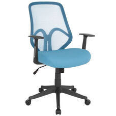 Salerno Series High Back Light Blue Mesh Chair with Arms