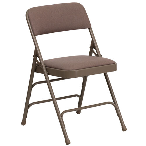 Our HERCULES Series Curved Triple Braced & Double Hinged Beige Fabric Metal Folding Chair is on sale now.