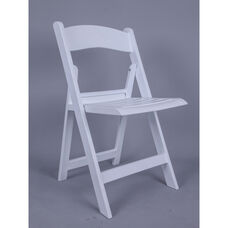 Nexus Resin Folding Chair with Slatted Seat - White