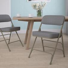 HERCULES Series Premium Curved Triple Braced & Double Hinged Gray Fabric Metal Folding Chair