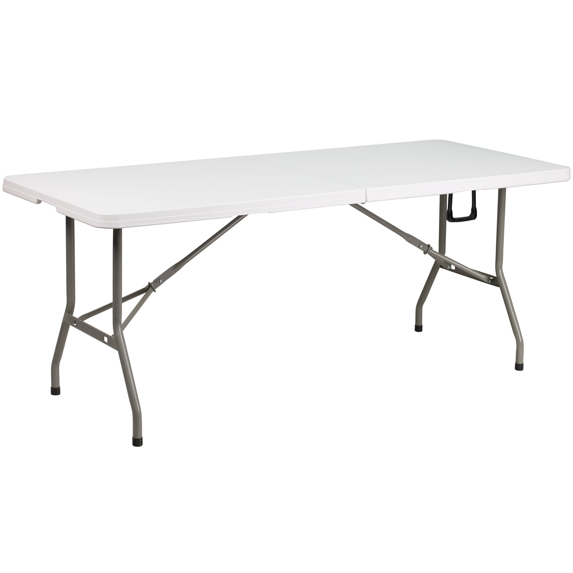 Folding Table With Handle.6 Foot Bi Fold Granite White Plastic Banquet And Event Folding Table With Carrying Handle
