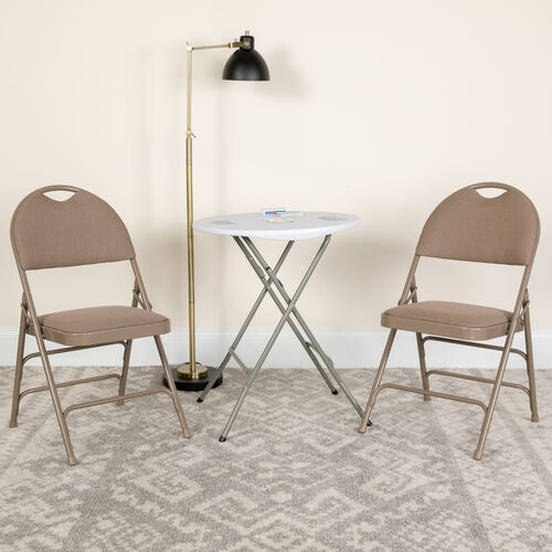 Our HERCULES Series Ultra-Premium Triple Braced Beige Fabric Metal Folding Chair with Easy-Carry Handle is on sale now.