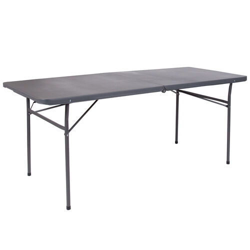 Our 6-Foot Bi-Fold Dark Gray Plastic Folding Table with Carrying Handle is on sale now.
