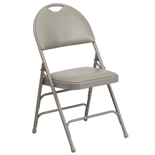 Our HERCULES Series Ultra-Premium Triple Braced Gray Vinyl Metal Folding Chair with Easy-Carry Handle is on sale now.