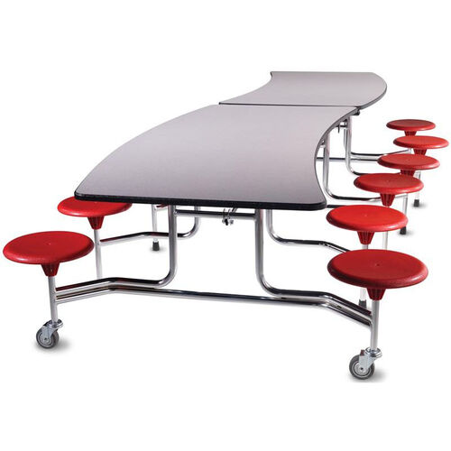 Our Afton™ Edgescape™ Foldable Cafeteria Table with 12 Attached Round Seats - 144