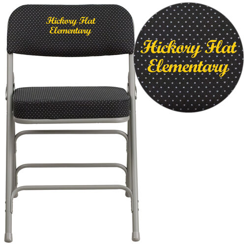 Our Embroidered HERCULES Series Premium Curved Triple Braced & Double Hinged Black Pin-Dot Fabric Metal Folding Chair is on sale now.