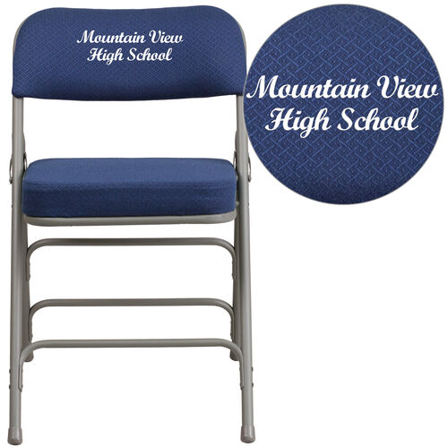 Our Embroidered HERCULES Series Premium Curved Triple Braced & Double Hinged Navy Fabric Metal Folding Chair is on sale now.