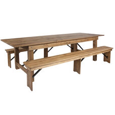 HERCULES Series 9' x 40'' Antique Rustic Folding Farm Table and Two Bench Set