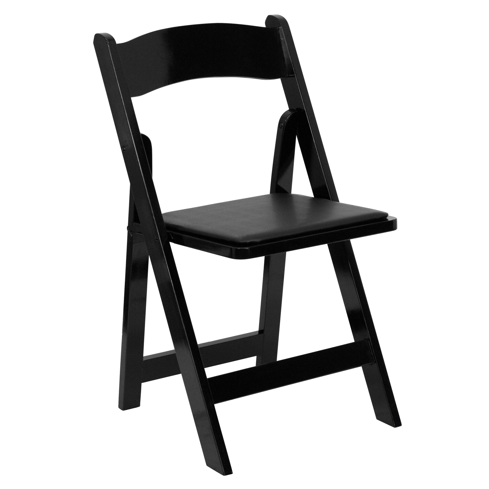 Outstanding Hercules Series Black Wood Folding Chair With Vinyl Padded Seat Pabps2019 Chair Design Images Pabps2019Com