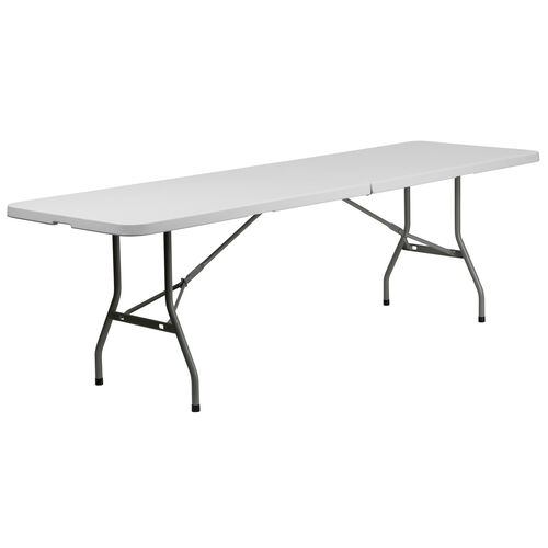 "Our 30""W x 96""L Bi-Fold Granite White Plastic Banquet and Event Folding Table with Carrying Handle is on sale now."