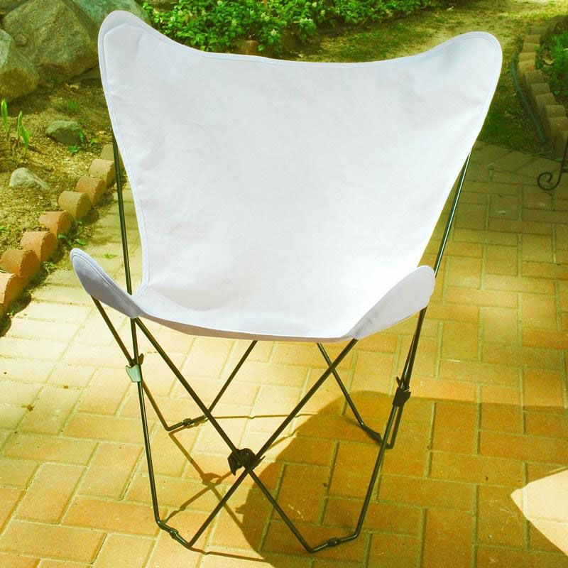 ... Our Folding Butterfly Chair With Black Steel Frame And Cotton Cover    Natural Is On Sale
