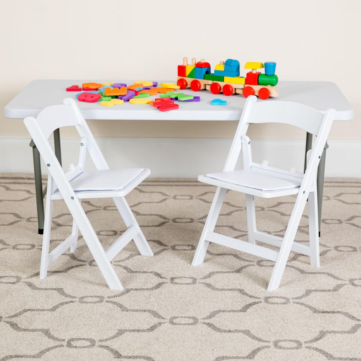 Kids White Resin Folding Chair With White Vinyl Padded