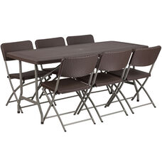 32 5 W X 67 L Brown Rattan Plastic Folding Table Set With 6 Chairs