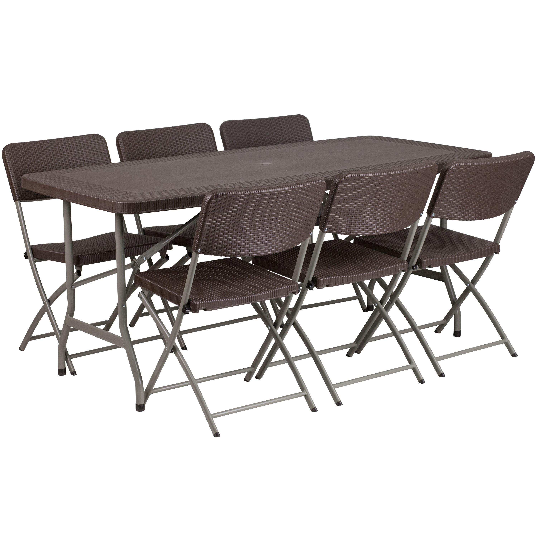 32.5u0027u0027W X 67.5u0027u0027L Brown Rattan Plastic Folding Table Set With 6 Chairs