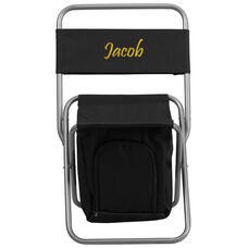 Embroidered Folding Camping Chair with Insulated Storage in Black