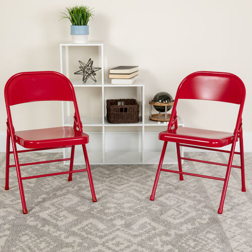 Our HERCULES Series Triple Braced & Double Hinged Red Metal Folding Chair is on sale now.