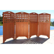 Malibu Outdoor Wood Privacy Screen with 4 Folding Panels - 46