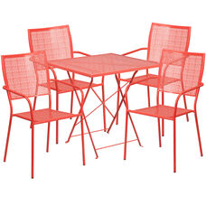 "Commercial Grade 28"" Square Coral Indoor-Outdoor Steel Folding Patio Table Set with 4 Square Back Chairs"