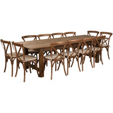 HERCULES Series 9' x 40'' Antique Rustic Folding Farm Table Set with 12 Cross Back Chairs and Cushions