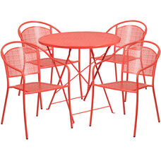 "Commercial Grade 30"" Round Coral Indoor-Outdoor Steel Folding Patio Table Set with 4 Round Back Chairs"