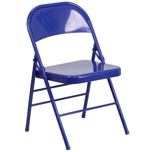 Our HERCULES COLORBURST Series Cobalt Blue Triple Braced & Double Hinged Metal Folding Chair is on sale now.