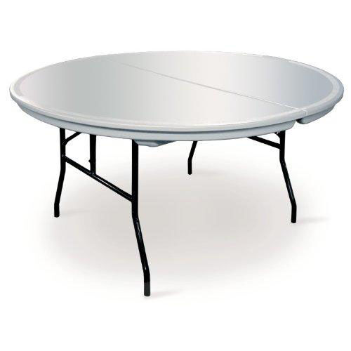 Commercialite Round Polyethylene Folding Table with Locking Legs - 72