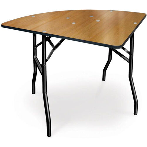 Diameter 1/4 Round Plywood Folding Table with Locking Wishbone Style Legs