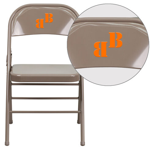 Our Personalized HERCULES Series Triple Braced & Double Hinged Beige Metal Folding Chair is on sale now.