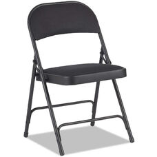 Alera® Traditional Steel Folding Chair with Upholstered Back and Seat - Set of Four - Graphite